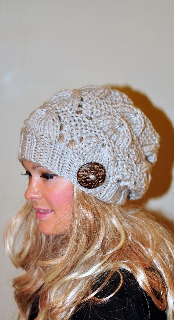 724d1d10f6 Slouchy Beanie Slouch Hat Button Hand Knit CHOOSE COLOR Winter Women Hat  Adult Linen Off White Beige Naturel Women Knit Hat Christmas Gift