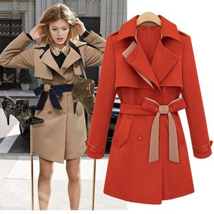 European Fashion Lapel Strap Waist Wind Coat