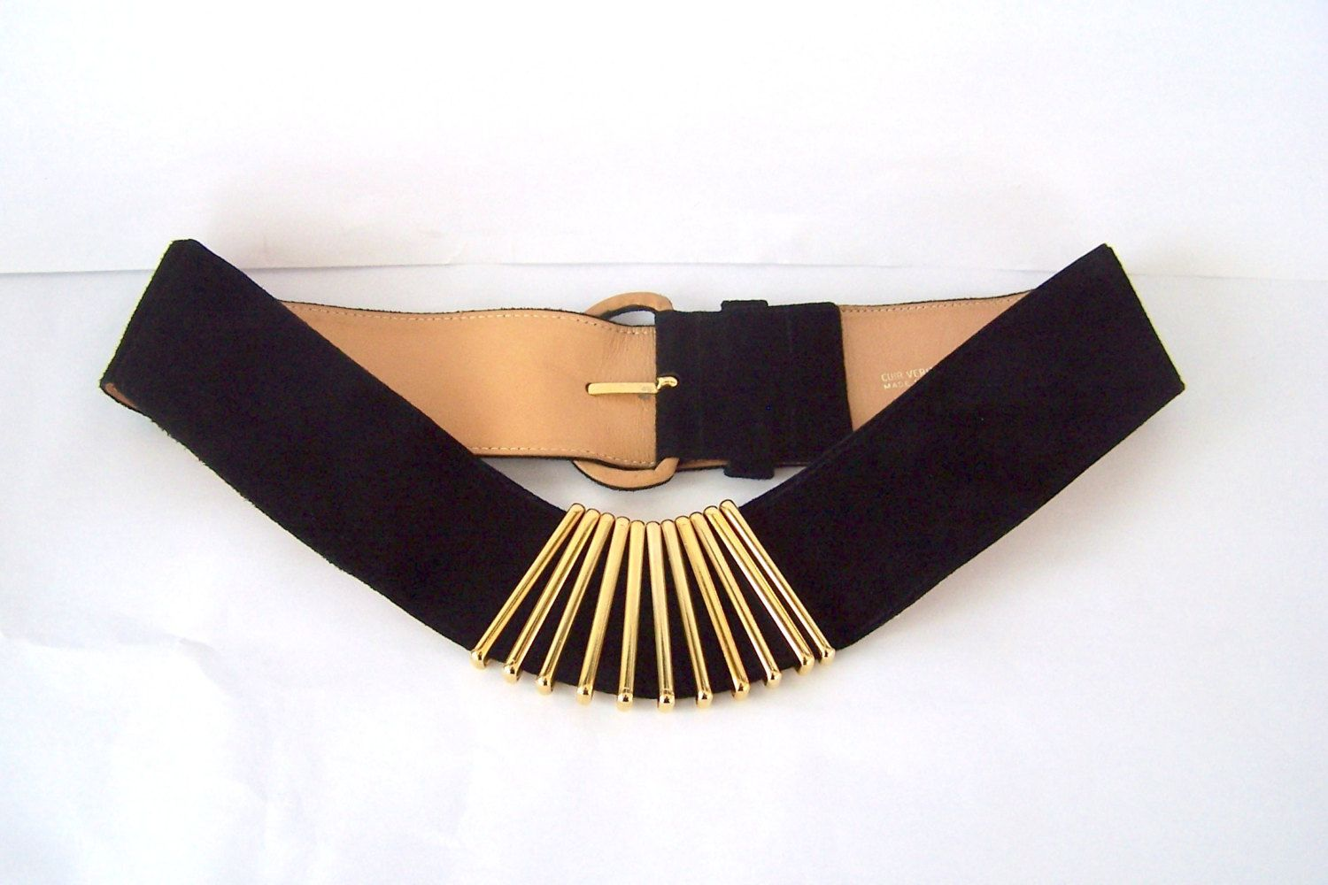 Karl Lagerfeld Black Suede And Gold Metal 80s Belt Designer Belts Vintage 80s Belt Made In France Pre Chanel Black Suede Suede Designer Belts