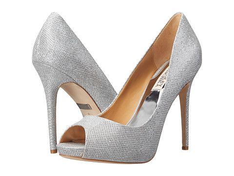 Badgley Mischka Ponderosa Silver Diamond Drill Fabric, Shoes, Silver, Women