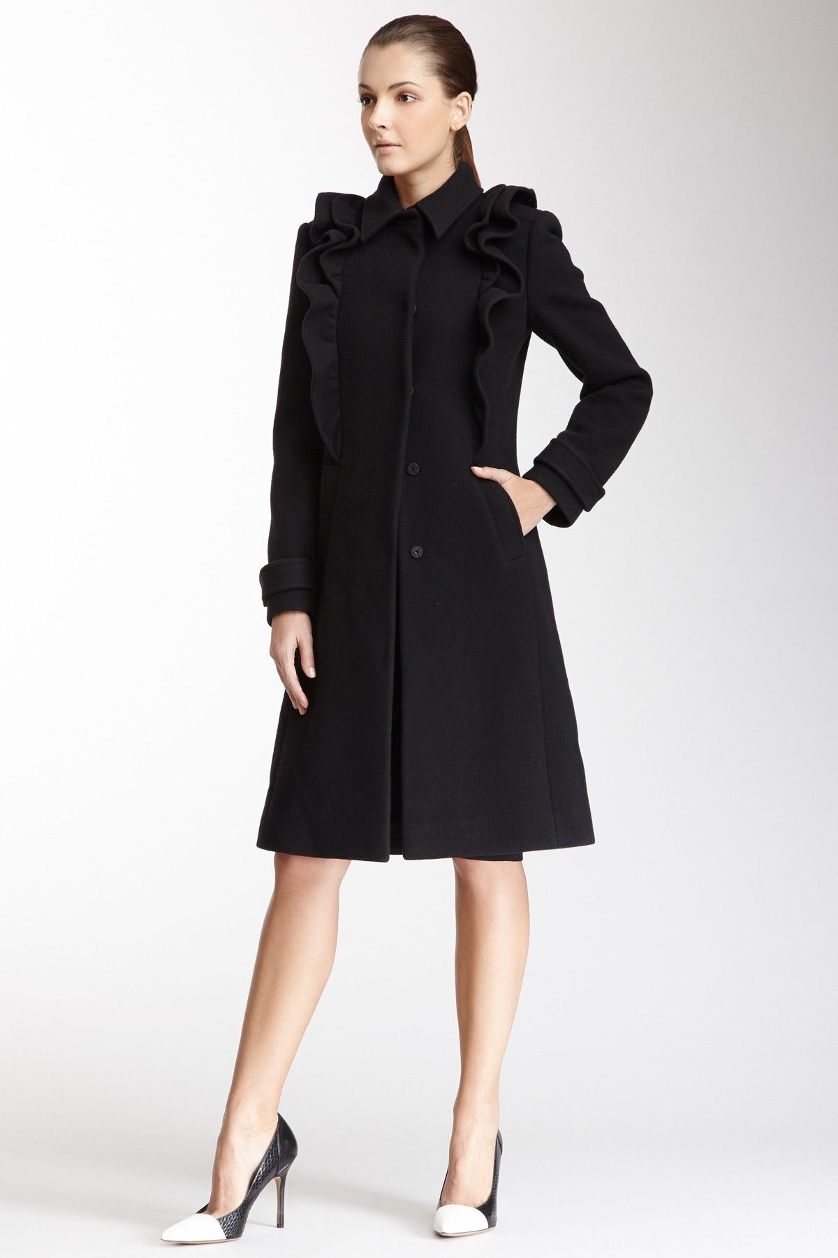 Valentino Ruffled Wool and Cashmere Blend Coat
