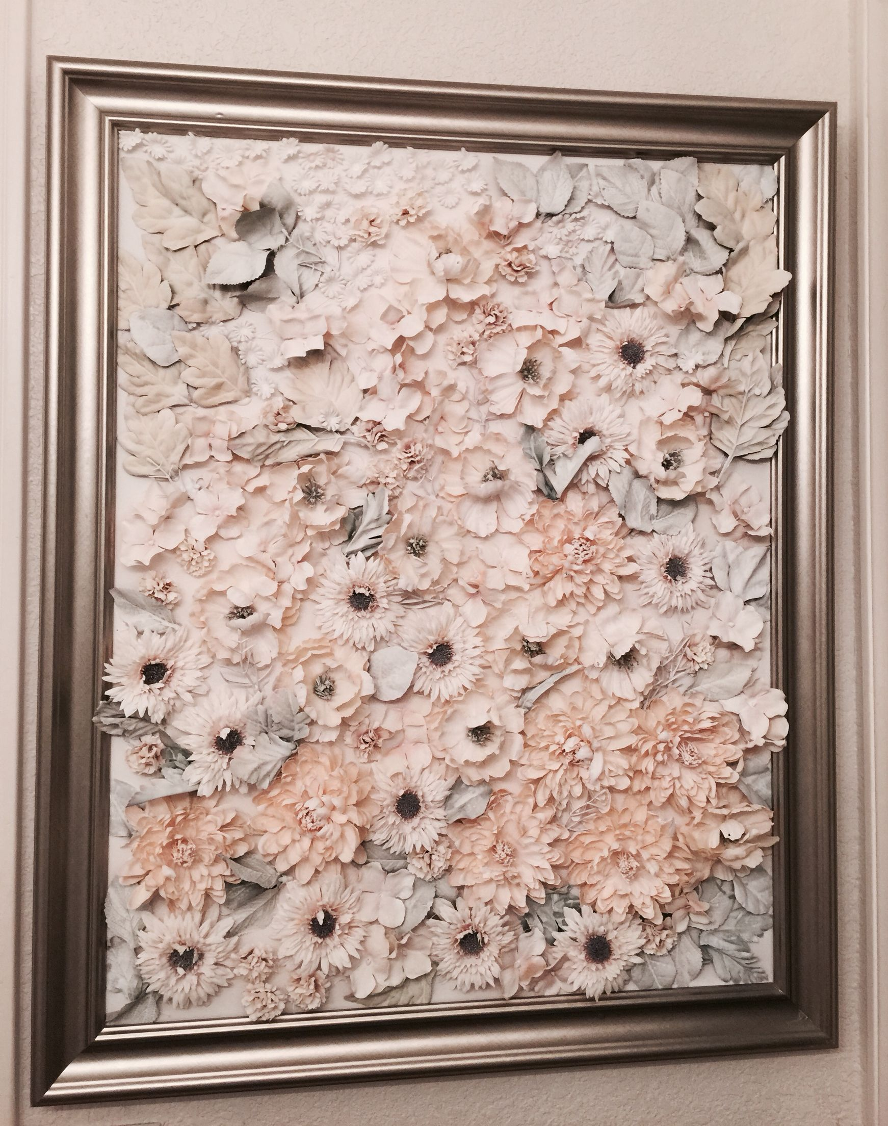 Silk Flowers, Canvas, Hot Glue, White Spray Paint, Frame