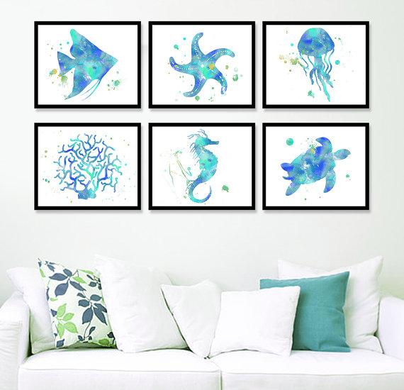 Coastal Prints Set Watercolor Sea Life