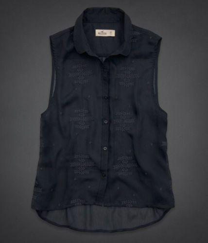 NEW Hollister Women Betty Seascape Chiff Navy Blue Top Shirt Blouse Medium M