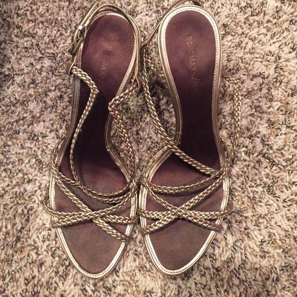 BCBG Max Azria strait sandals BCBG Max Azria strapped sandals- platinum color, leather upper and sole. Gently worn. BCBGMaxAzria Shoes Heels