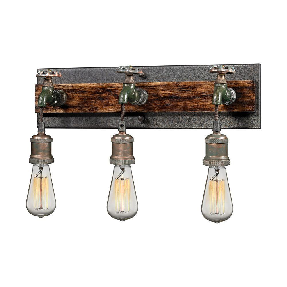Titan Lighting Jonas 3 Light Multi Tone Weathered Wall Sconce Tn 11574 The Home Depot Bracket Wall Lamp Wall Sconce Lighting Wall Lamp