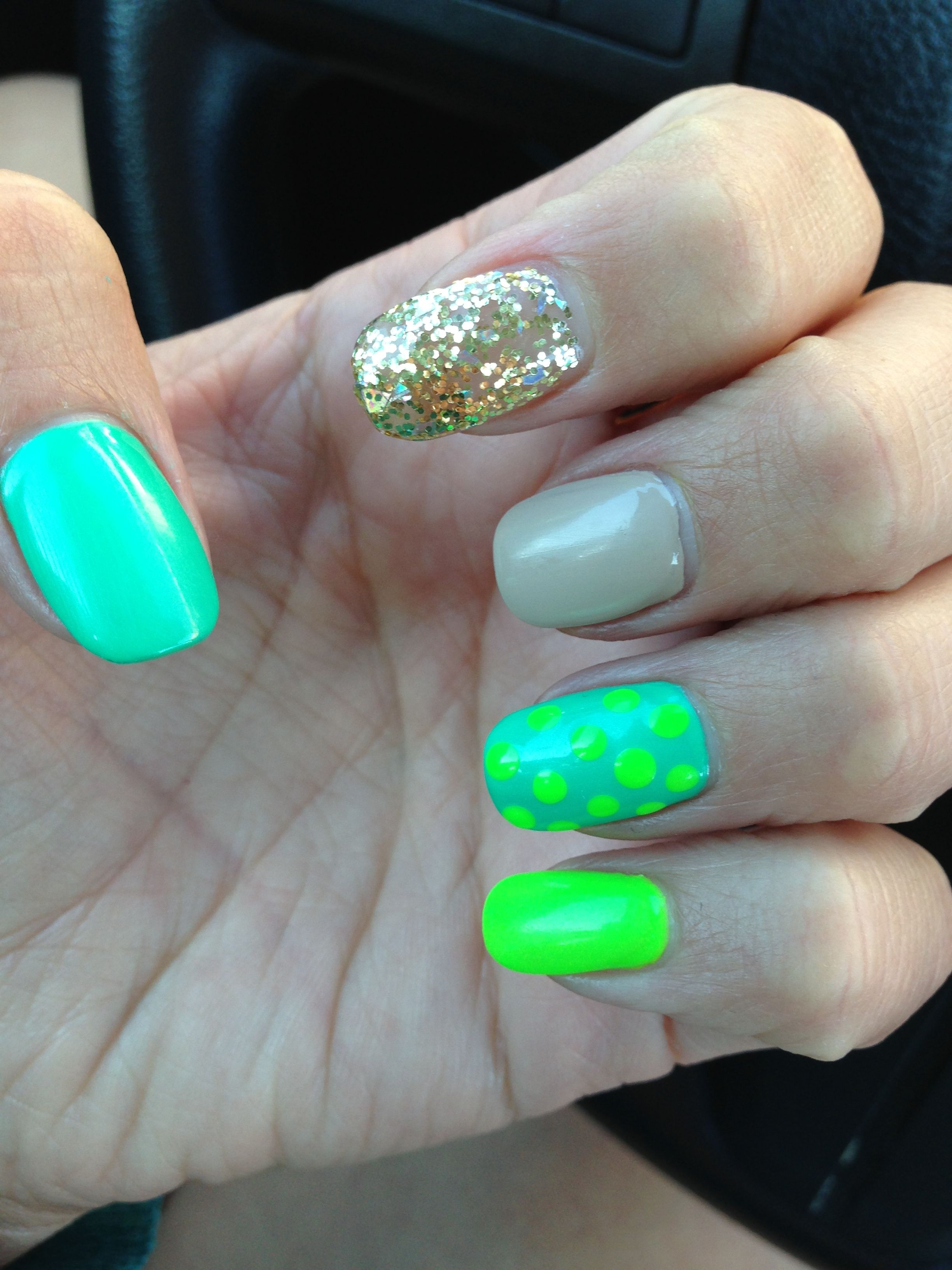cool fun nail design teal