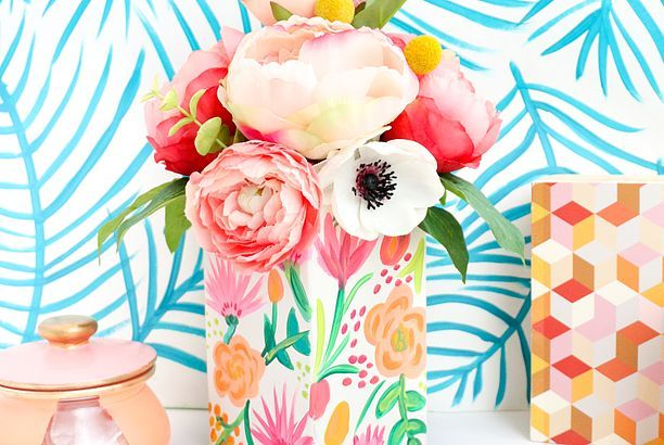 Try This Paint Your Own Pattern On Pattern Floral Vase A Beautiful