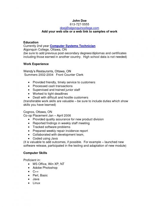 Resume Sample For Technician Network Support Technician Resume