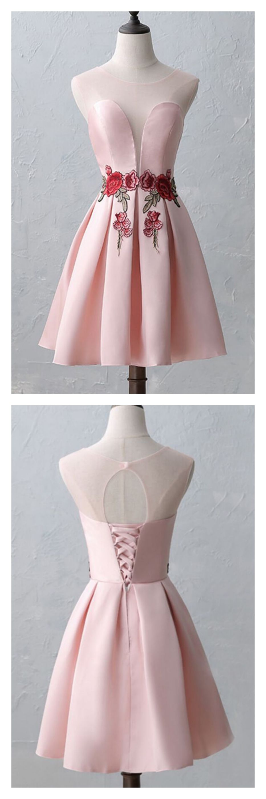Pink satin short homecoming graduation dresses with flowered