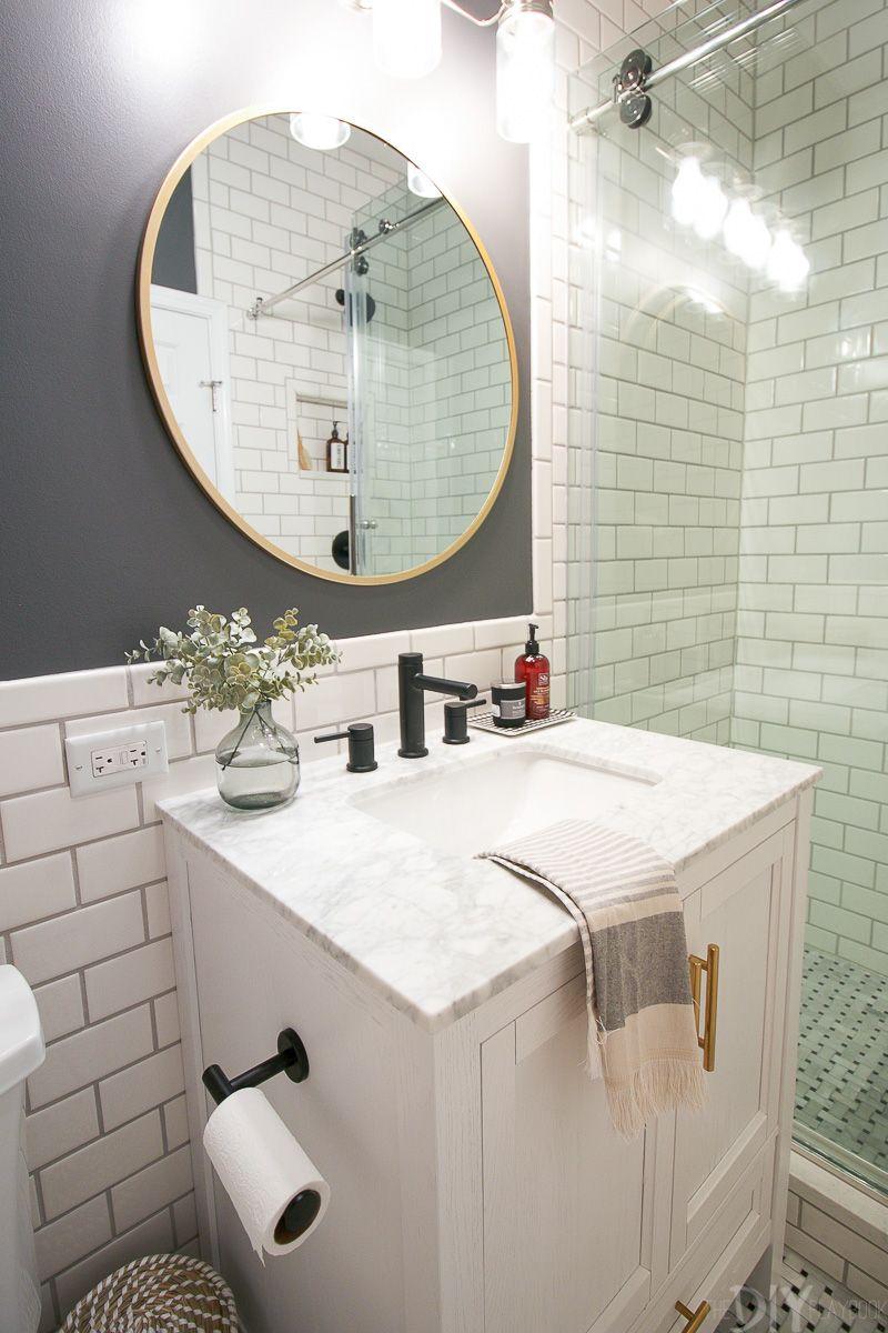 Revealing Our Diy Bathroom Makeover White Vanity Bathroom Small Bathroom Vanities Diy Bathroom Makeover