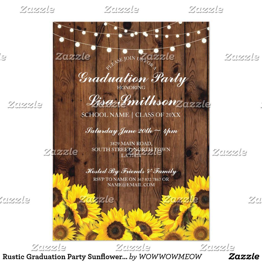 Graduation Party Sunflower Wood Invite