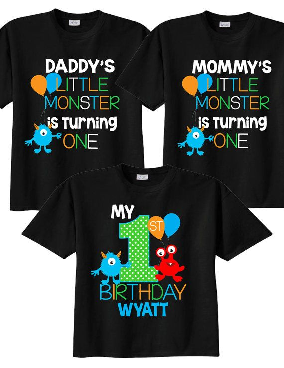 1st Birthday Shirts With Monsters Family On BLACK