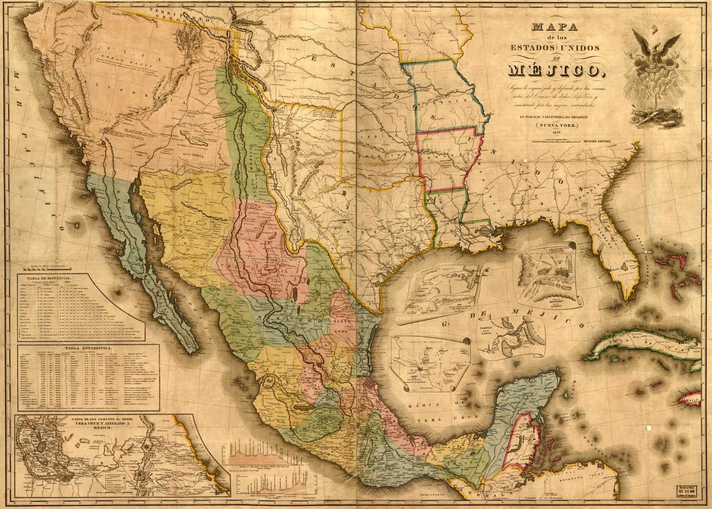 You Are Viewing An Original 1847 Map Of Mexico At The Time Of The Mexican War It Covers The United States Southwest Of Georgia And Iowa