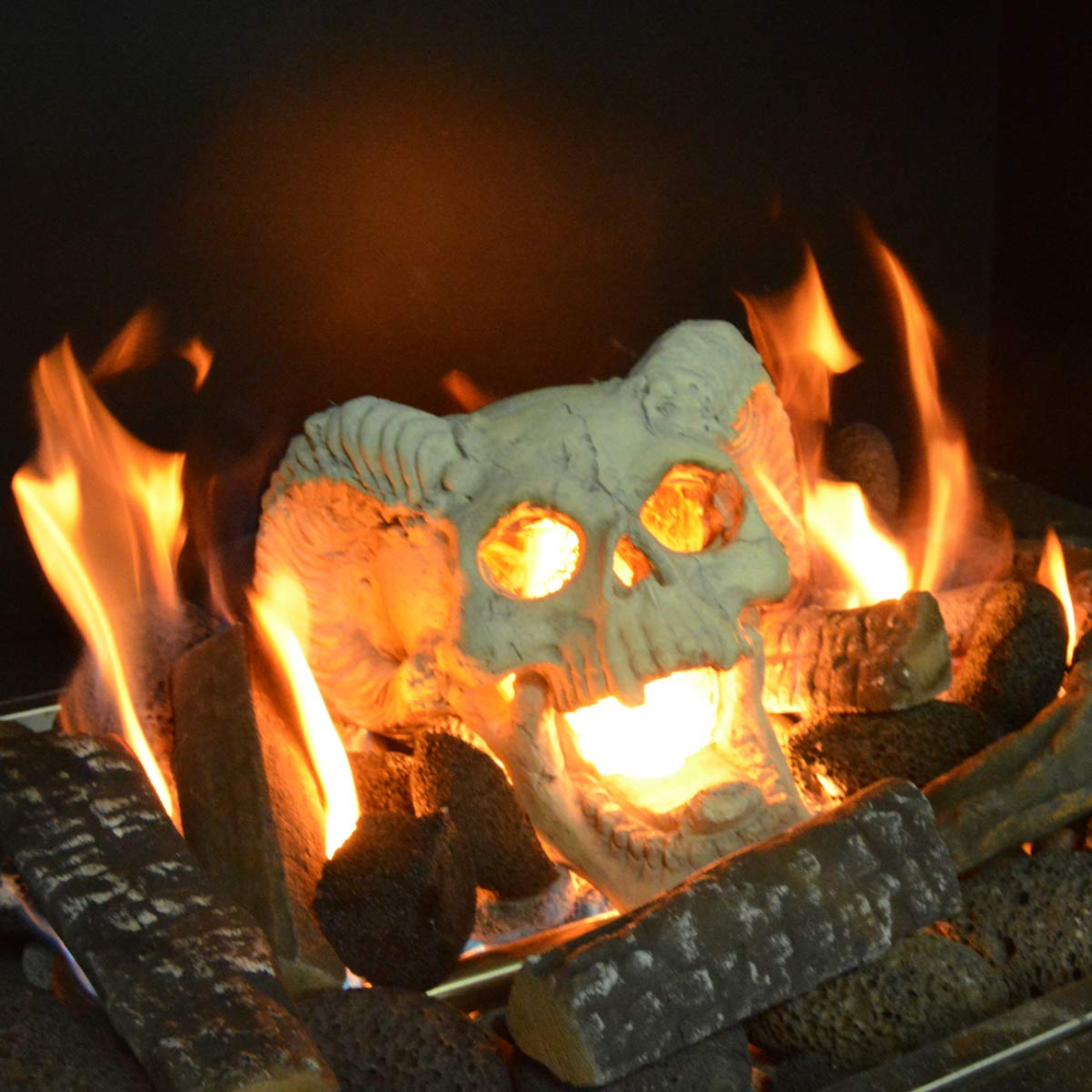 Amazon Com Stanbroil Demon Fireproof Fire Pit Fireplace Skull Gas Log For All Types Of Gas Inserts Ventless Vent Free Pr Glass Fire Pit Fire Pit Gas Logs