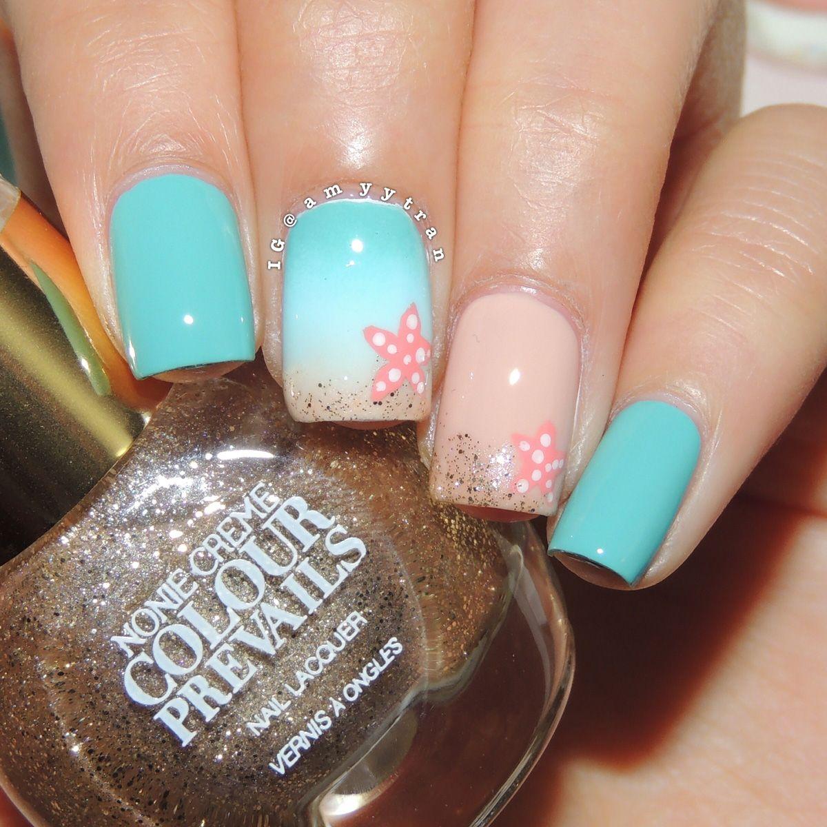 starfish beach nails tutorial
