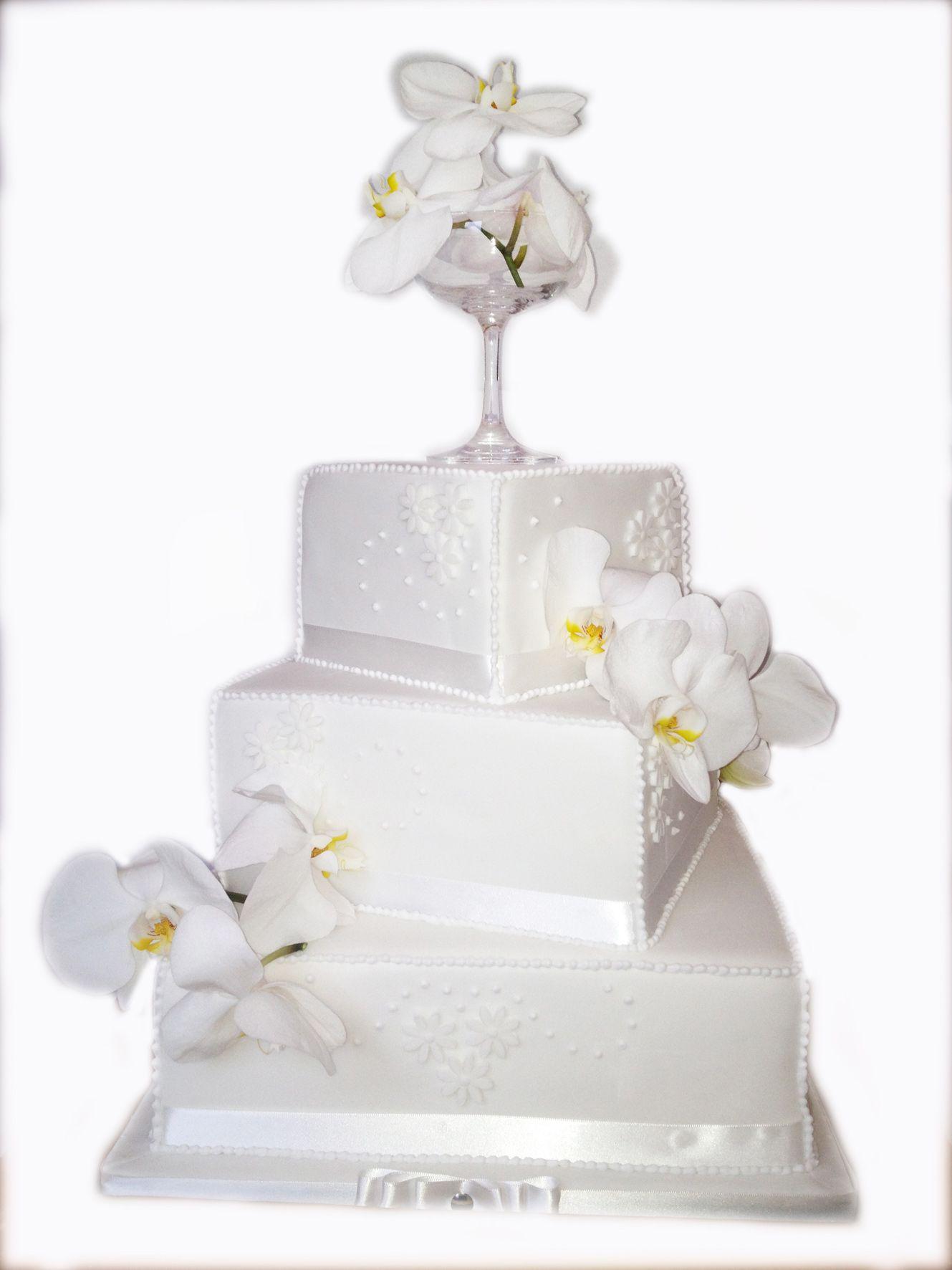 3 Tier Wedding Cake - White Orchids | Sweet Cheeks Cake Design ...