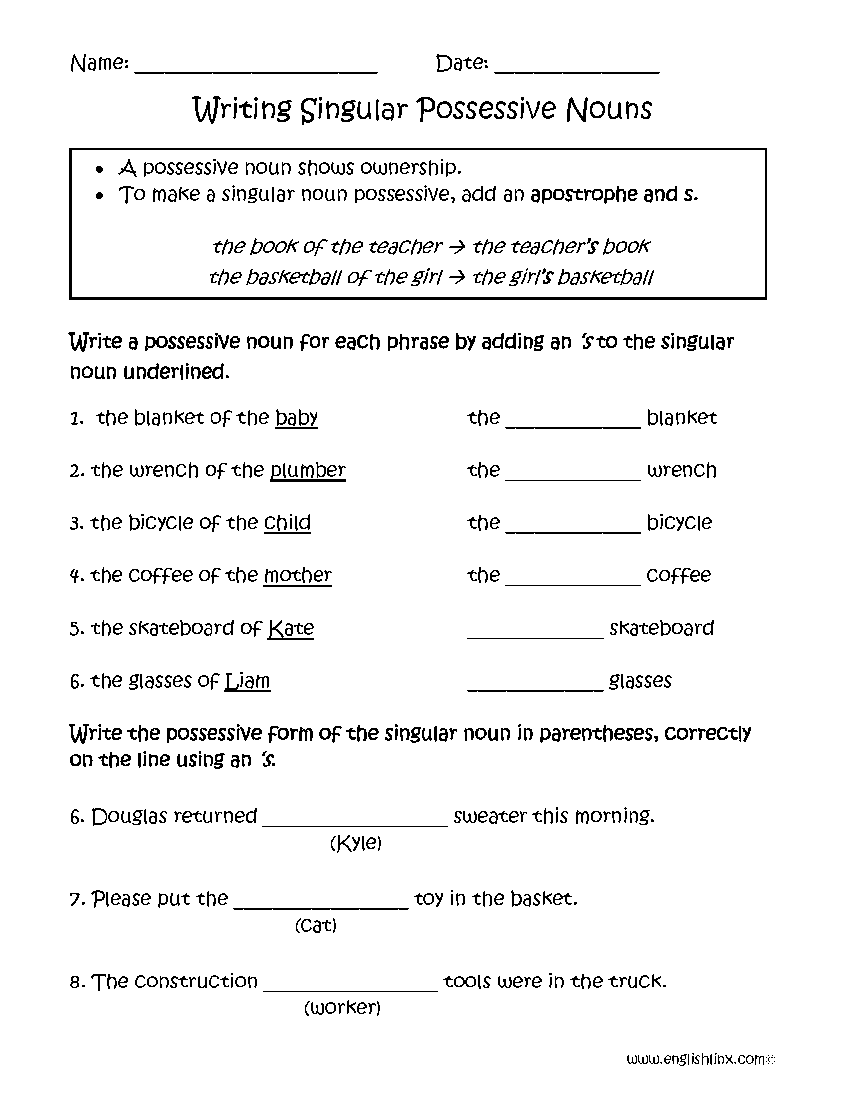 Uncategorized Plural Possessive Nouns Worksheet writing singular possessive nouns worksheets englishlinx com worksheets