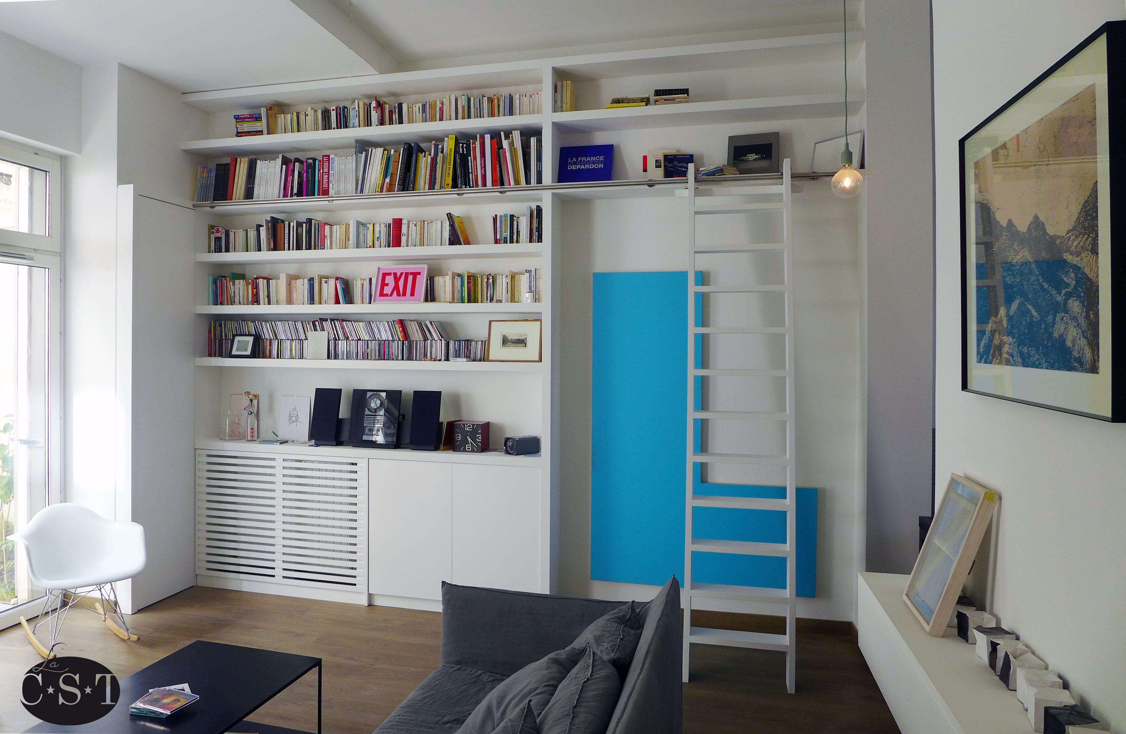 Biblioth Que L Aspect Ma Onn Esprit Loft Industriel Grande  # Grand Meuble Tv Modulable Sous Escalier