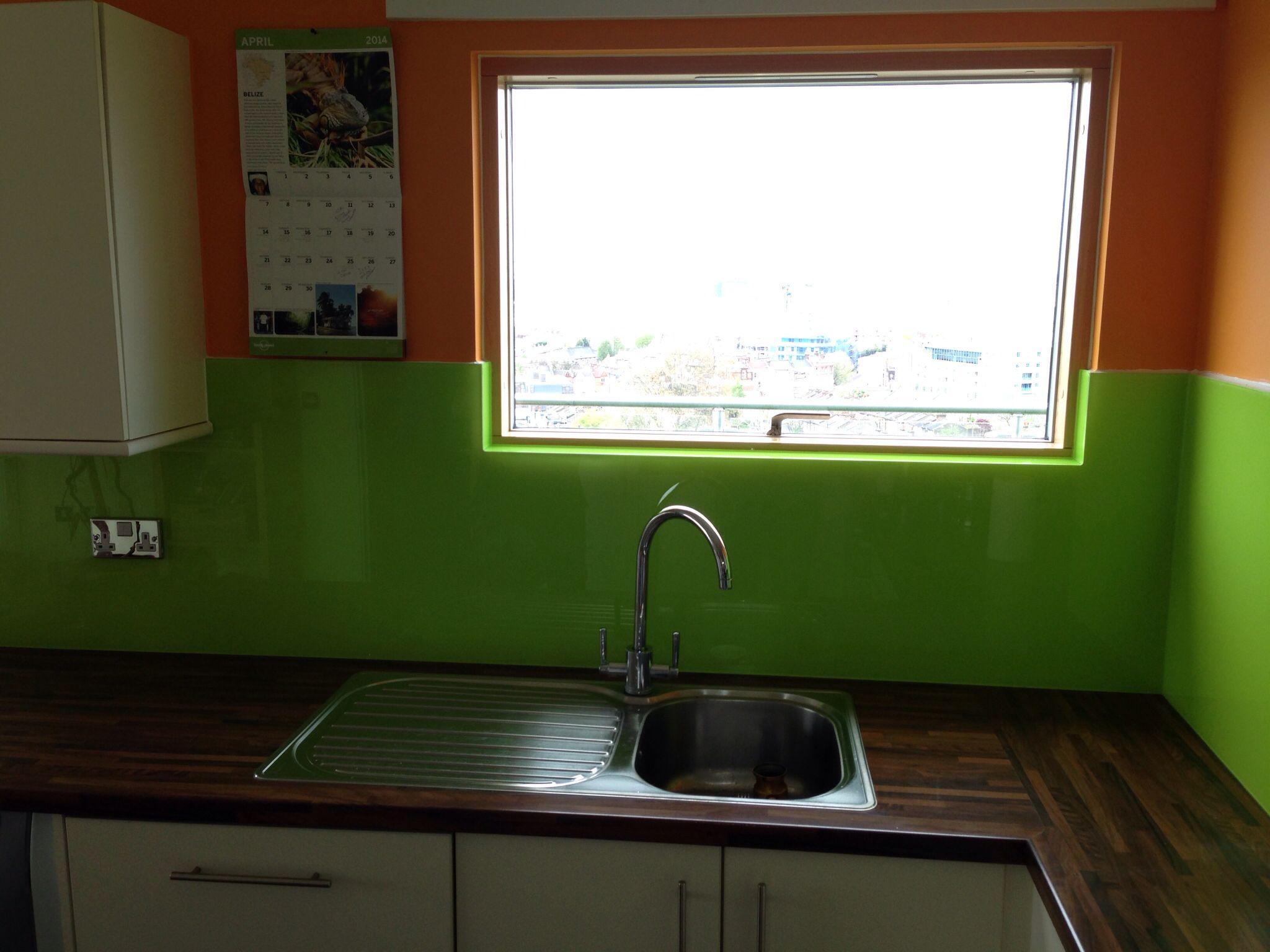 Glass splashbacks for bathroom sinks - Orange Lime Green Kitchen Glass Splashback By Creoglass Design London Uk View More Glass Kitchen Splashbacks And Non Scratch Worktops On Www C