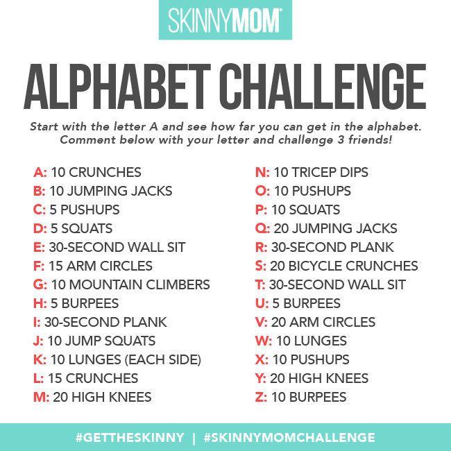 Exercise Through The Alphabet Alphabet Workout Fun Workouts Workout Names