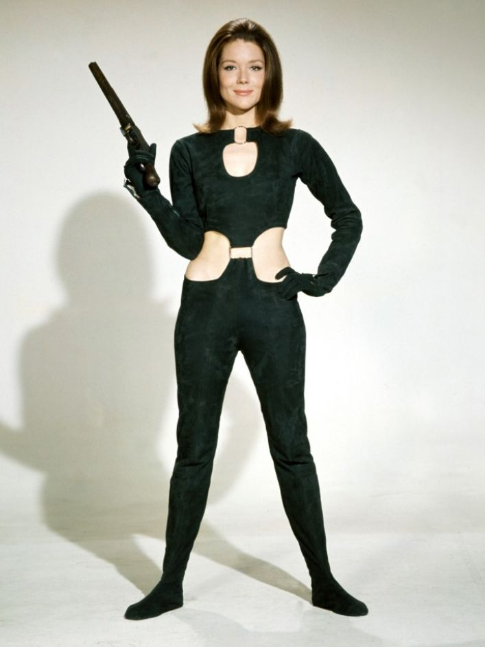 "Diana Rigg looking totally cool in a costume from ""The Avengers"" 