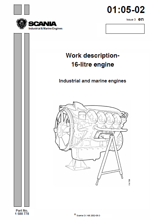 Scania Dc16 Di16 16 Litre Engine Workshop Service Manual Engineering Workshop Repair Manuals