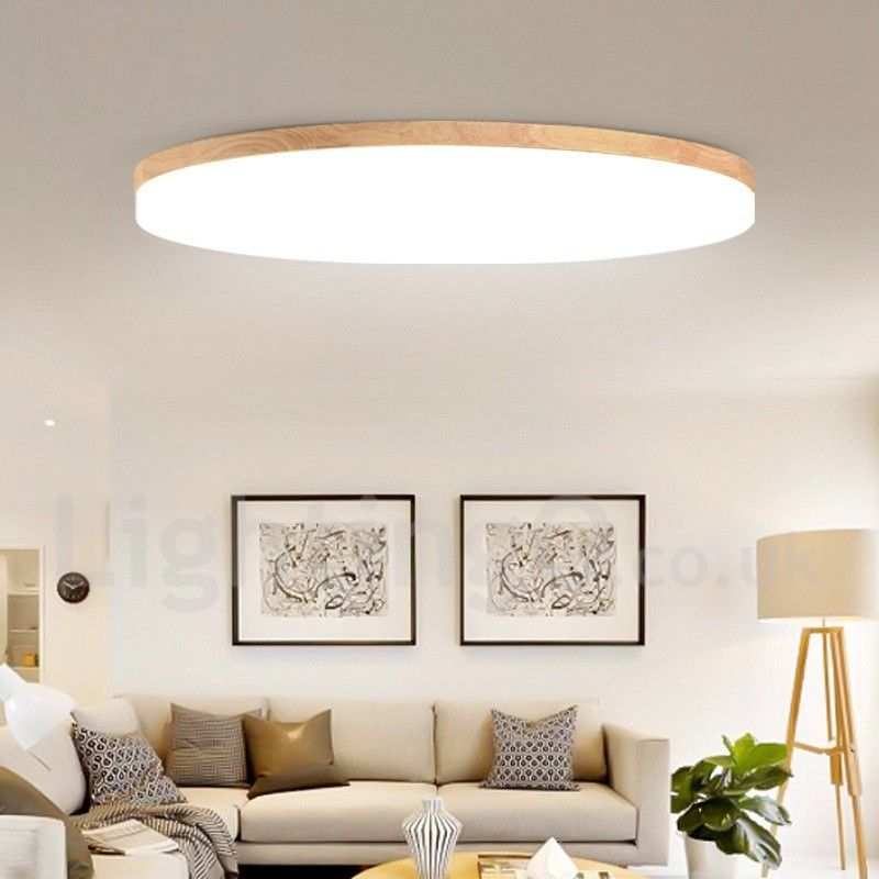 Nordic Round Bedroom Ceiling Lamp Simple Modern Solid Wood