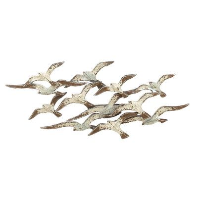 Urban Designs Flying Flocking Seagulls Wide Metal Wall Décor Finish: White/Rust/Green Patina