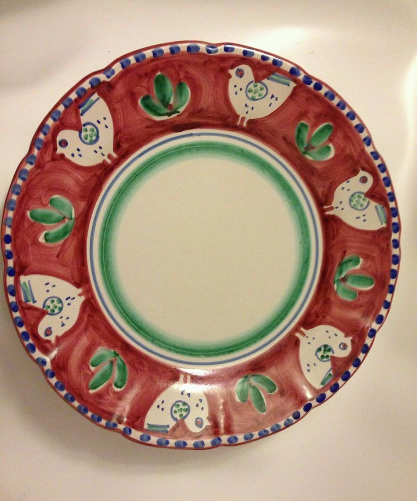 Solimene Vietri C&agna Red Green Chicken Pattern 13  Round Platter Dish : chicken design dinnerware - pezcame.com