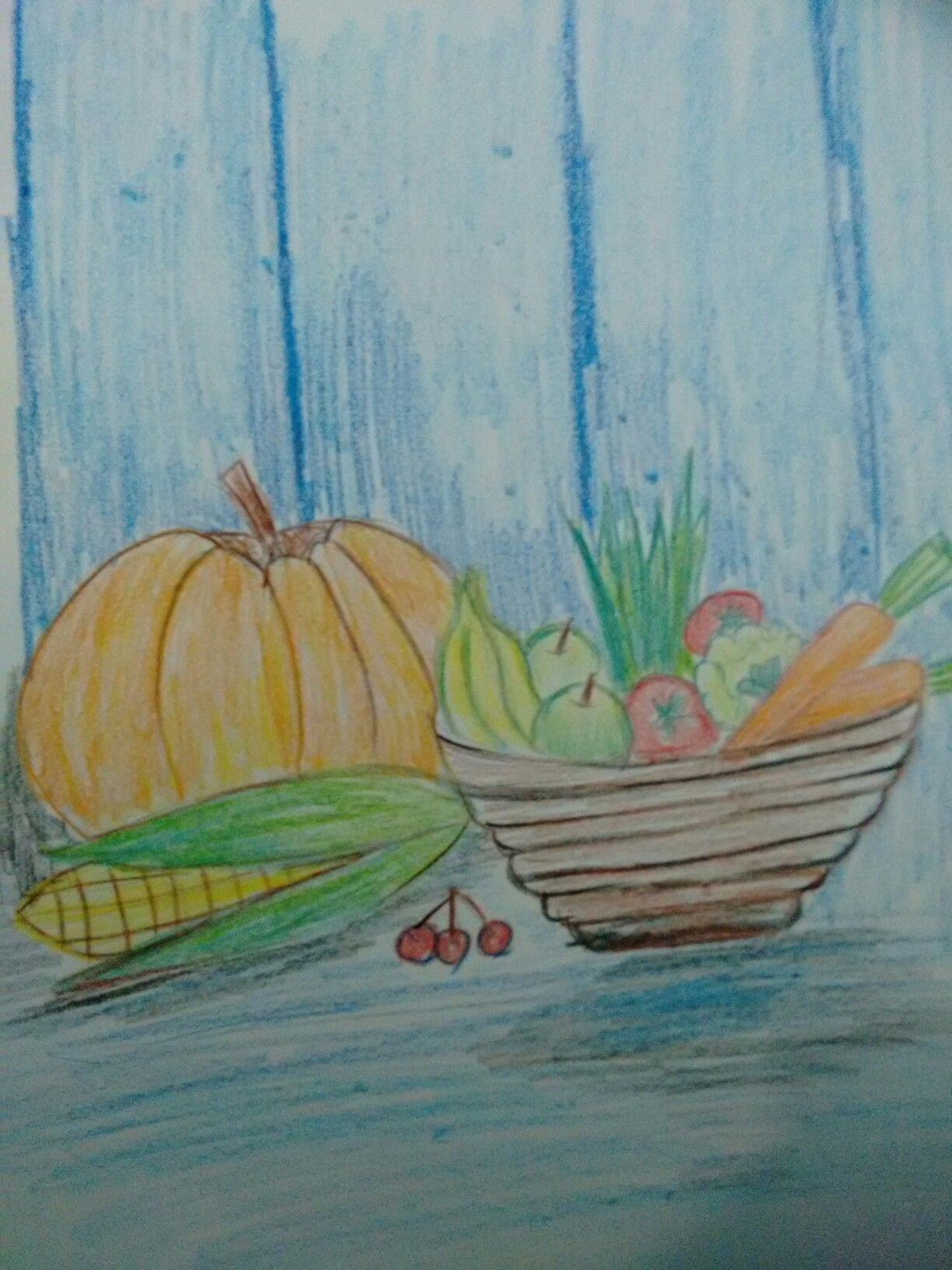 Fruits and vegetable basket drawing pencil art project for 4th standard