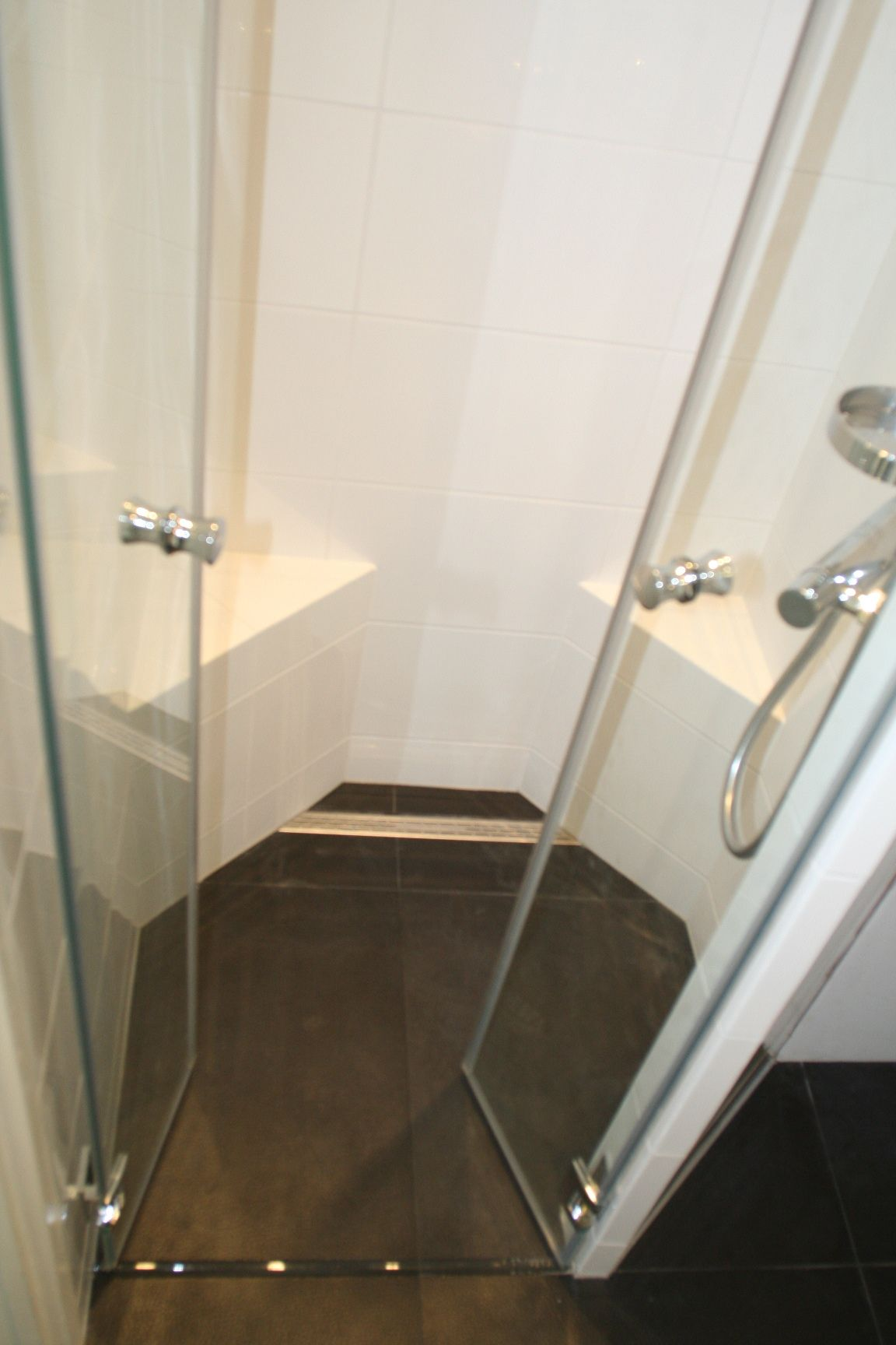 Kleine doucheruimte met afstelmogelijkheden voor zeep en shampoo ...