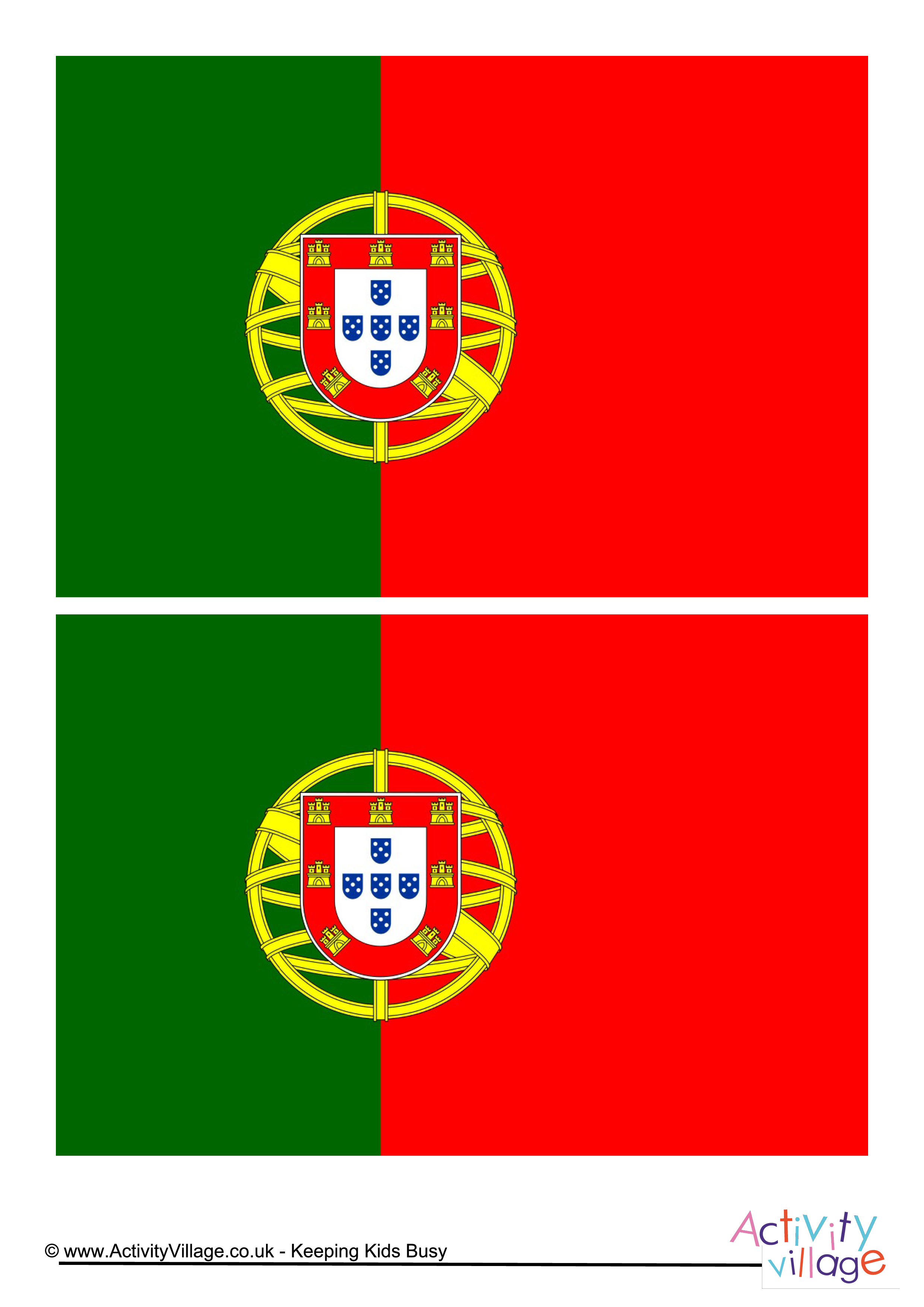Portugal Flag - Download this free printable Portugal template A4 ...