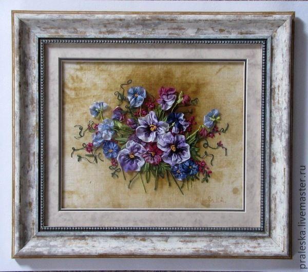 Купить картина Анютины глазки - картина, цветы, Вышивка ...