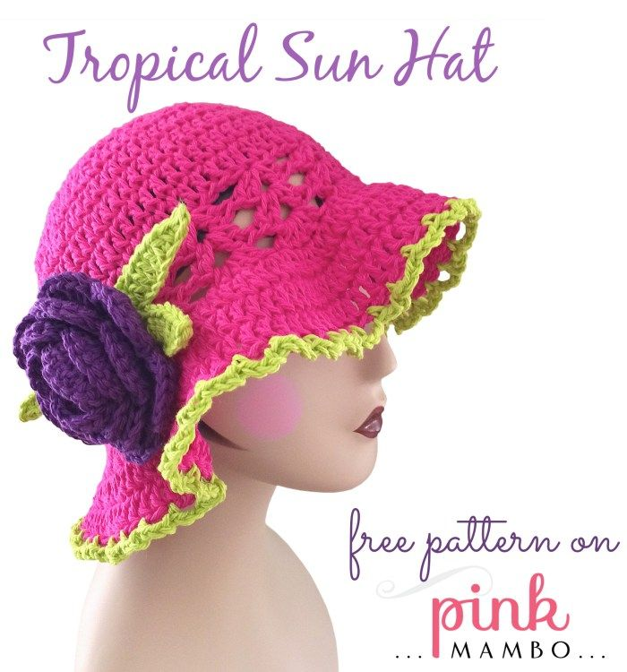 Tropical Sun Hat | Crochet Head Coverings | Pinterest