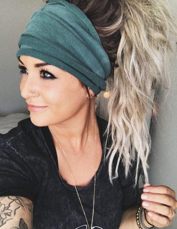 Spruce Scrunch Headband, Extra Wide Headband, Turb