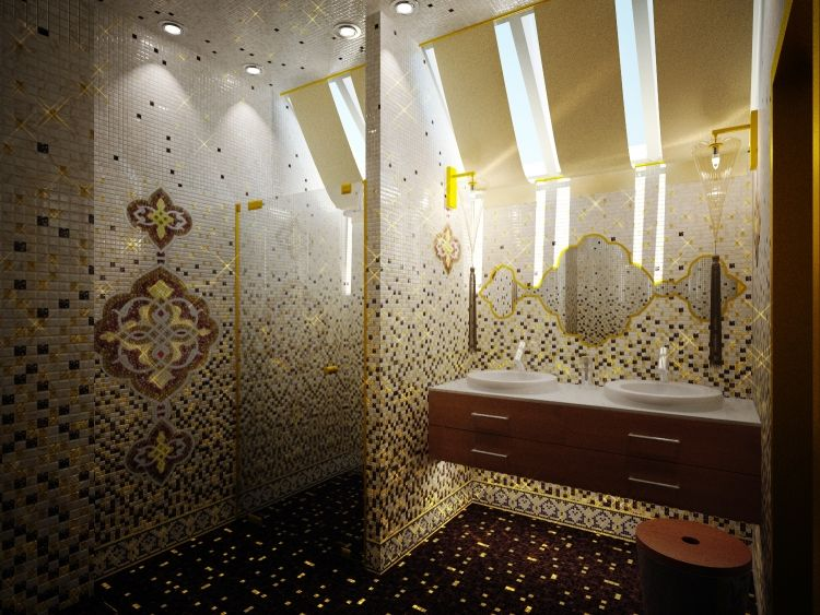 salle de bain mosaique multicolore à motifs marocains ...
