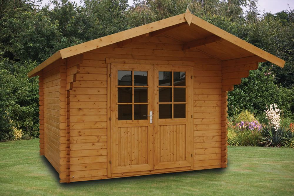 Peter Log Cabin 3x3m 34mm Logs Traditional Sheds Door Fittings Roof Boards