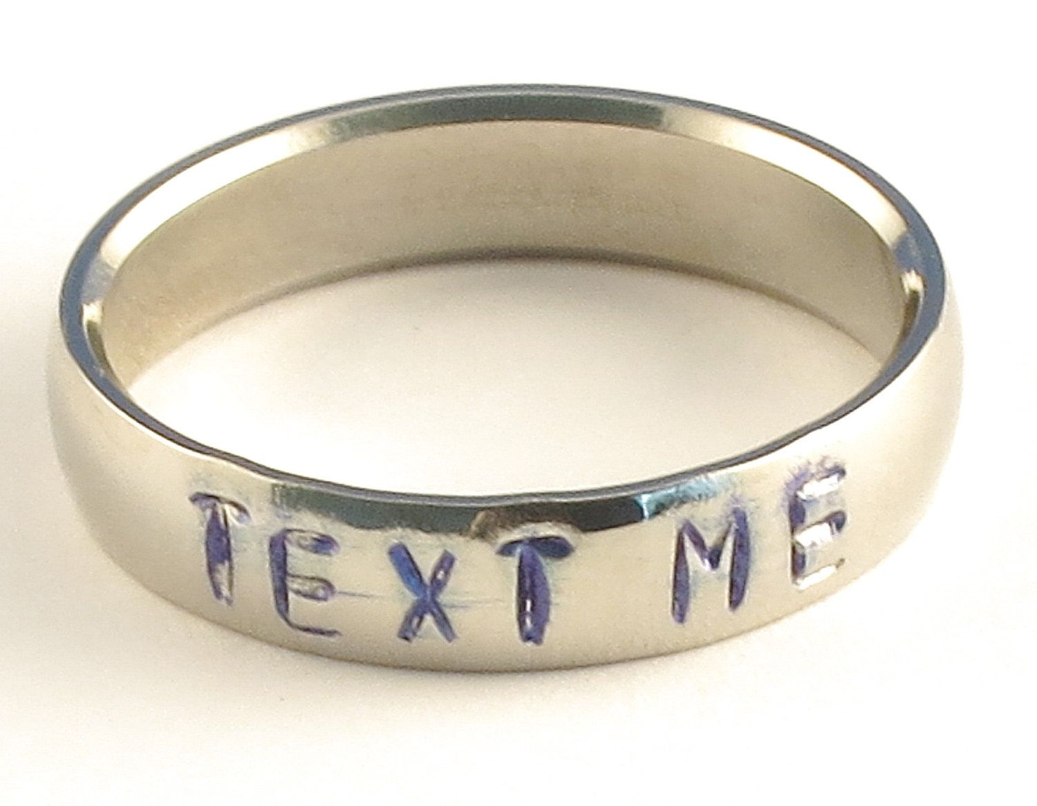 TEXT ME - Personalized Stainless Steel Low Dome Hand Stamped Name Ring 5mm Ring Sizes 3-14 by Lulaport on Etsy