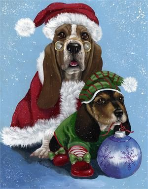 Basset Hound Santa & Elf Flag - House & Garden Size Available