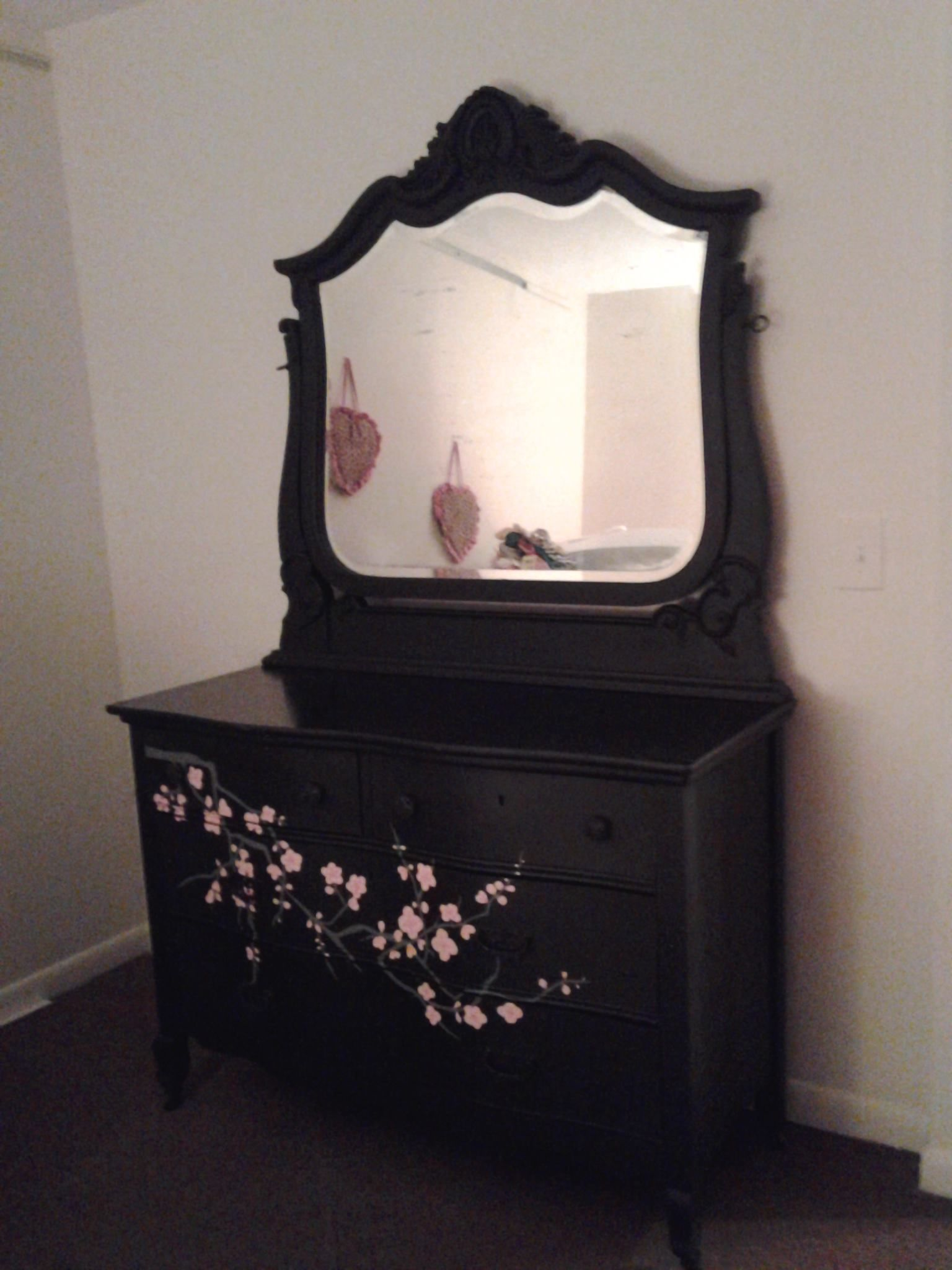 Flat Black Painted Dresser Inside The Drawers Are Pink