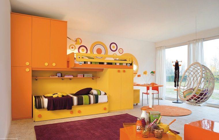 Cameretta Arancione Pareti : Colori pareti camerette bianco mobili arancione interior design