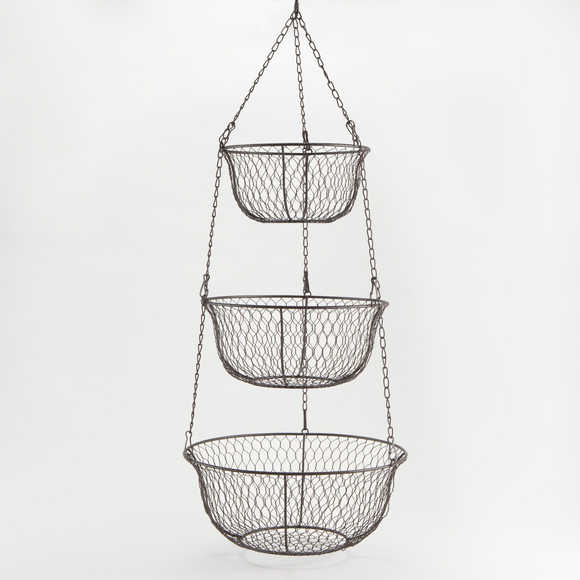 wire three tier hanging basket hanging baskets wire. Black Bedroom Furniture Sets. Home Design Ideas