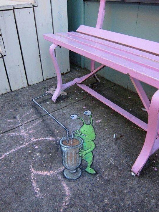 david+zinn+sidewalk+art   Sidewalk Art / David Zinn Sluggo chalk street art