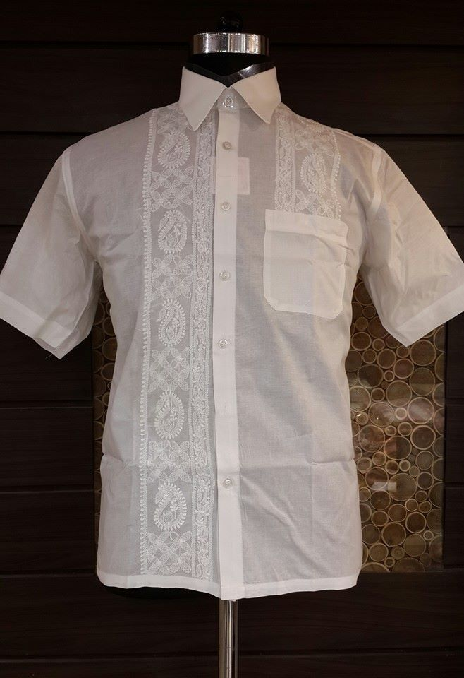 Lucknowi Chikan Hand Embroidered Mens Shirt