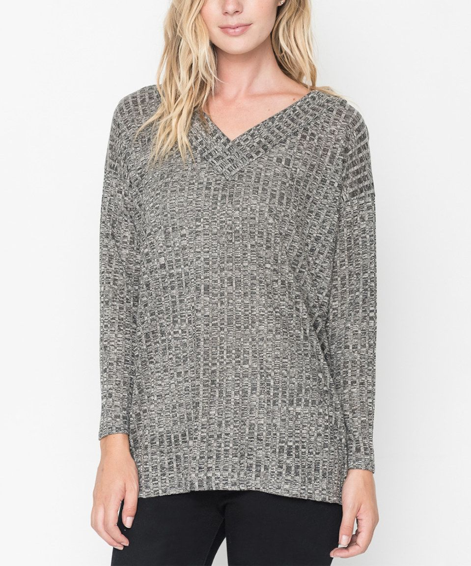 Caralase Charcoal Melange V-Neck Tunic - Plus Too by Caralase #zulily #zulilyfinds