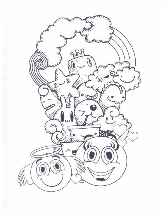 Emojis emoticons coloring pages 16