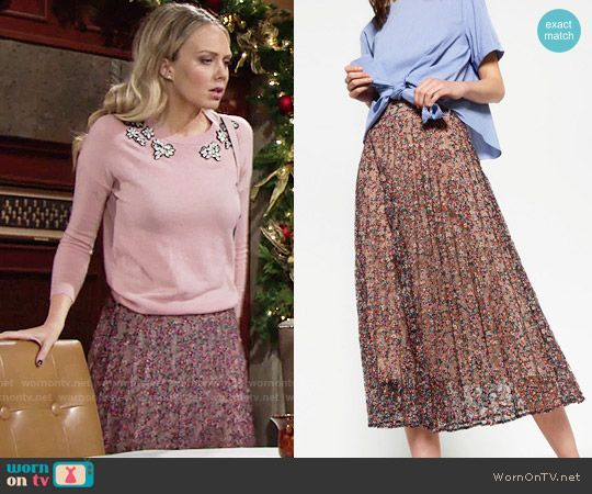 3090832cc1a2a2 Abby s pink gemstone sweater and floral skirt on The Young and the  Restless. Outfit Details  https   wornontv.net 63123    TheYoungandtheRestless