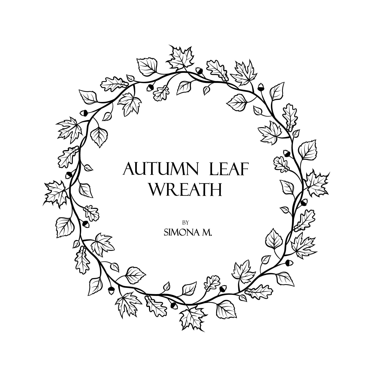 Autumn Leaf Wreath hand drawn LOGO art/Clipart/Vector/SVG