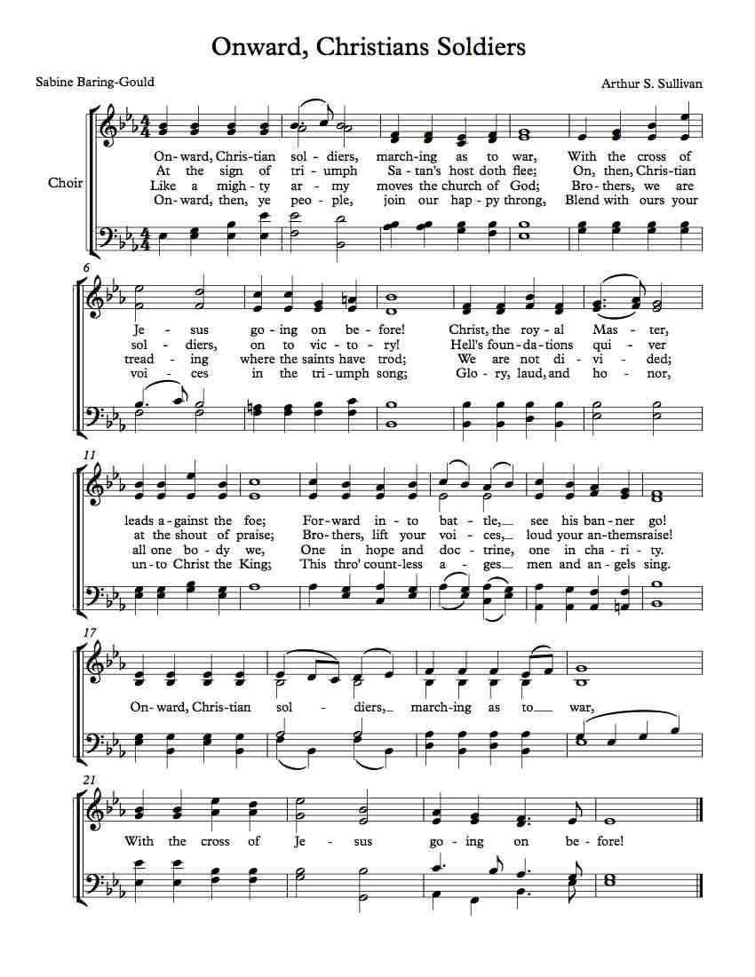 Free Choir Sheet Music Onward Christian Soldiers Sheet Music